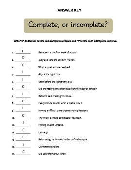 Complete or Incomplete Sentences?