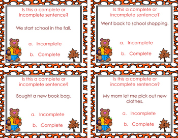 Complete or Incomplete Sentences Task Cards