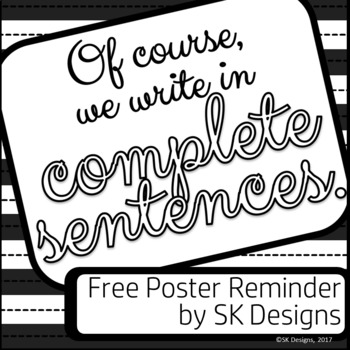 Complete sentences for writing reminder