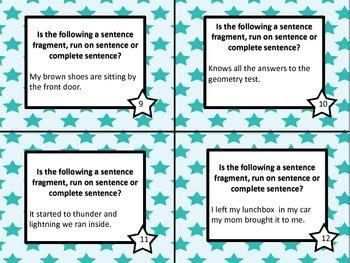 Complete sentences, run on setences and sentence fragment task cards