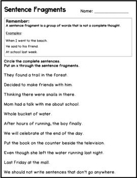 Complete Sentences, run ons, sentence fragment worksheets ...