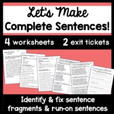 Complete Sentences, run ons, sentence fragment worksheets