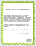 Complete sentences - subject and predicate worksheet