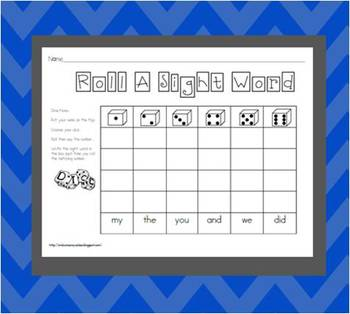 Complete set of 100 Sight Words Dice Roll Packet
