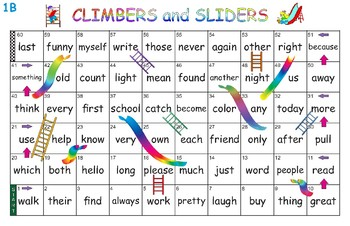 Complete set of Climbers and Sliders - Sight Word Game