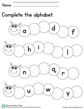 Complete the Alphabet - Lowercase Letters