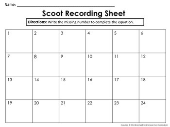 Complete the Equation Task Cards for Scoot Games/Partner Work (CCSS 1.OA.D.8)