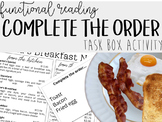 Complete the Order Task Box Activity- Functional Reading,