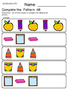 Complete the Pattern: AB | Back to School | Cut & Paste | Full Color