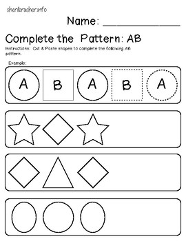 Complete the Pattern: AB Shapes | Cut & Paste