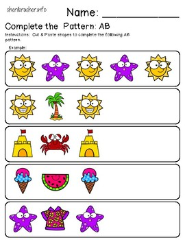 Complete the Pattern: AB | Summer | Cut & Paste | Full Color