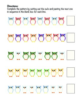 Complete the Pattern Activity with Owls