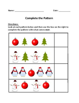 Complete the Pattern - Winter Themed Packet