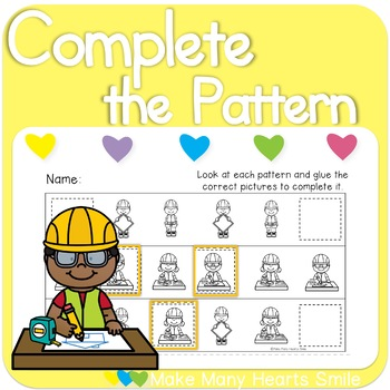 Complete the Patterns: Construction Kids