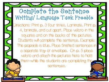 Complete the Sentence Writing/ Language Task Freebie