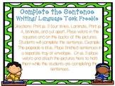 Complete the Sentence Writing/ Language Task Freebie