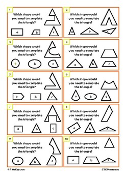 Complete the Shape Visual Thinking STEM Task Cards