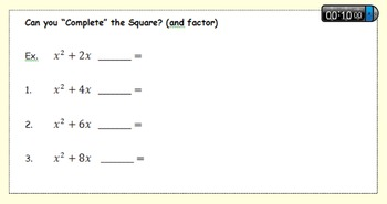 Complete the Square- Algebra Tiles