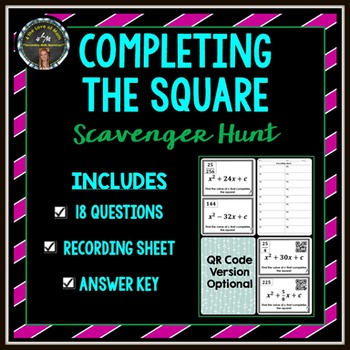 Completing the Square: Scavenger Hunt by 4 the Love of Math | TpT