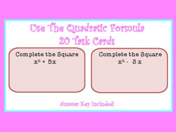 Complete the Square Task Cards