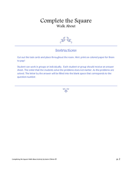 Complete the Square Walk about Activity
