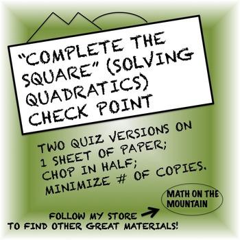 """""""Complete the Square"""" (Solving Quadratics)"""