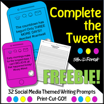 Complete the Tweet FREEBIE!! (Engaging Social Media Themed Writing Prompts)