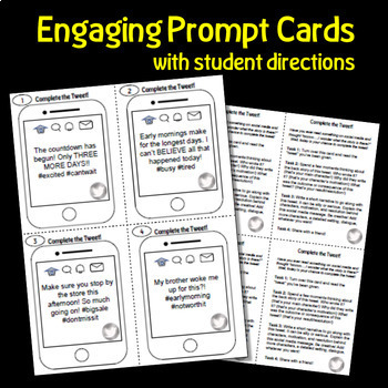 Complete the Tweet FREEBIE Social Media Themed Writing Prompt Task Cards
