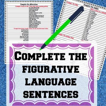 Complete the figurative language