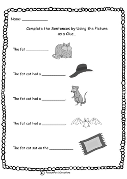 Complete the sentence using the CVC 'at' family words.