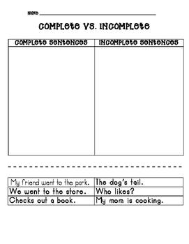 Complete vs. Incomplete Sentences