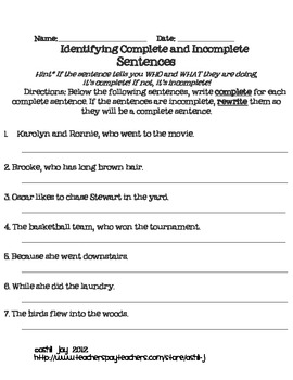 Complete vs Incomplete Sentences Activity