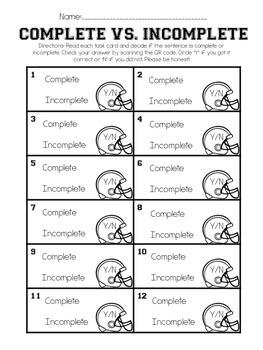 Complete vs. Incomplete Sentences QR Code Read Around the Room