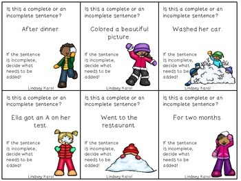 Complete vs. Incomplete Sentences Snowball Fight!