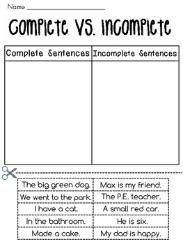 Complete Sentences vs. Incomplete Sentences Sorting Worksheets