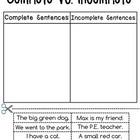 Complete Sentences vs. Incomplete Sentences Sorting Worksheets