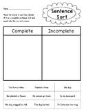 Complete vs. Incomplete sentence sort