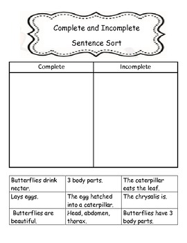 Complete/Incomplete Butterfly Sentence Sort