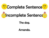 Complete/Incomplete Sentences Lesson Plan
