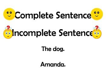 Complete/Incomplete Sentences Lesson Plan