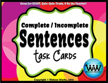 Complete/Incomplete Sentences Task Cards