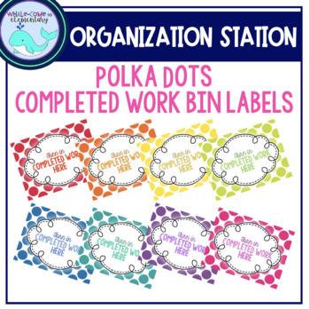 Completed Work Bin Labels: Polka Dots