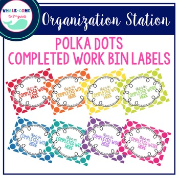 Completed Work Bin Labels: Polka Dots