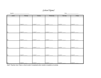 Completed Work Weekly Lesson Plan (template)