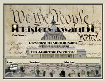 Completely Editable History Awards Certificate