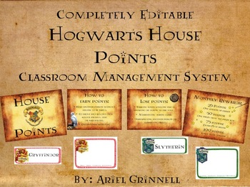Completely Editable Hogwarts House Points Classroom Management System