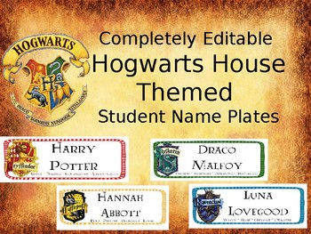 Completely Editable Hogwarts House Themed Student Name Plates