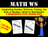 Completing Number Patterns, Finding the Rule in Number Patterns Worksheets