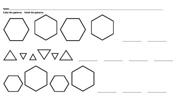 Math Worksheets: Completing Patterns on Legal Paper