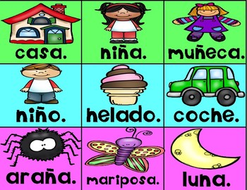 Completing Sentences Pocket Chart Activity in Spanish